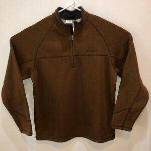 Columbia Mens Extra Large Brown 1/4 Zip Front Mock Neck Top Jacket XL