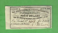 $40 Dollars Csa Interest Coupon from 1861 $1000 Confederate Bond Currency Note