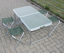 Camping Klapptisch SET ALU, Tisch faltbar 120 cm Campingtisch 4 Hocker 4I2m OLIV