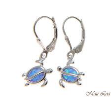 925 Sterling Silver Rhodium Hawaiian Honu Turtle Blue Opal Leverback Earrings