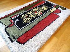 STUNNING ABSTRACT CUBIST VINTAGE MID CENTURY SHAG RUGS VTG WOOL CARPET