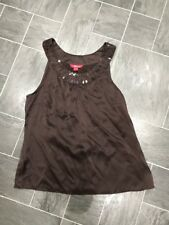 MONSOON SIZE 14 BROWN SILK SEQUINNED SLEEVELESS TOP