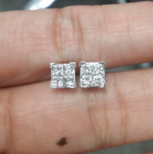 DEAL! 0.90CTW NATURAL SQUARE DIAMOND FOUR STONES QUADS EARRINGS STUDS  14K GOLD