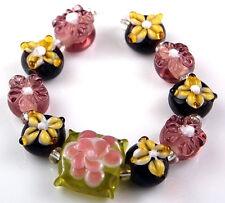 HANDMADE LAMPWORK GLASS BEADS Brown Mocha Yellow Flower Loose Jewelry Craft