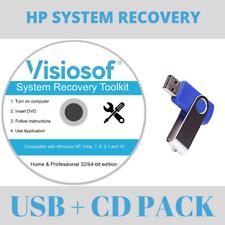 HP Recovery Repair Disk USB Software Boot Restore CD Windows 10 8 7 Vista XP