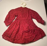 American Girl Doll Pleasant Company Kirsten Red School Dress Prarie New Pattern