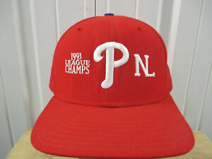 VINTAGE NEW ERA PHILADELPHIA PHILLIES 1993 NL CHAMPS RED SEWN SNAPBACK CAP HAT