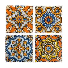 S/4 unique marocains vintage antique Céramique Boissons Table Tapis Carrelage Coasters Set