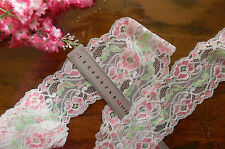 Nylon Light STRETCH Lace WHITE PINK & GREEN HighlightFLORAL 80mmWide 2Mtrs LrgTp