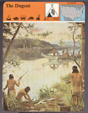 THE DUGOUT CANOE Indian Boat History PANARIZON STORY OF AMERICA CARD