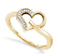10K Yellow Gold White Diamond Heart Ring .04ct Size 7