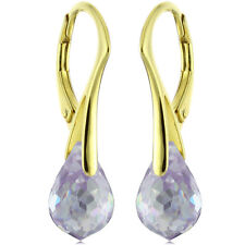 Natural Briolette Lavender Amethyst Earrings 14k Gold Over 925 Sterling Silver