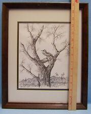 Framed & Matted Picture Signed C Lockner Duck in Flight Bird Nature Ink Pencil