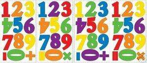 NUMBERS primary colors wall stickers 48 colorful decals school room decor