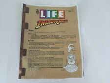The Game of Life - Indiana Jones Edition - PARTS ONLY-Manual - Free Shipping