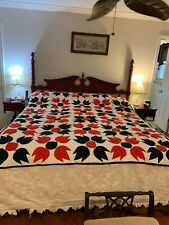 "Vintage Red & Black Tulip Applique Quilt 88"" By 71"""