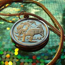 "1980's AUSTRALIA KANGAROO DOLLAR  (PROOF) COIN GOLD FILLED PENDANT 28"" CHAIN"