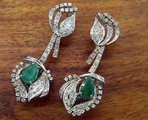 Vintage palladium ART DECO LARGE COLOMBIAN EMERALD DIAMOND CHANDELIER earrings