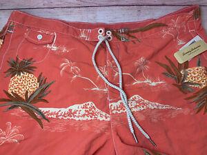 Men's TOMMY BAHAMA RELAX Orange Pineapples Swim Trunks Pockets XL NWT