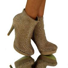Luxus Stiefeletten BRAUN Sexy High Heels designer Party boots Strass Nieten Gr38