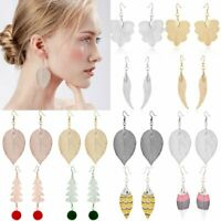 Women Natural Real Leaf Drop Dangle Ear Hook Earrings Jewelry Party Gift New