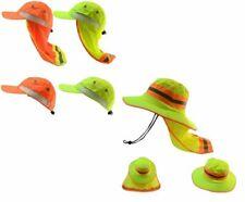 Construction Soft Hat Sun Shade Reflective Stripe Neck Shield Wide Brim Yellow