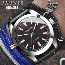 40mm Parnis Sapphire Miyota Automatic Movement Men's Wrist Watch Leather Strap