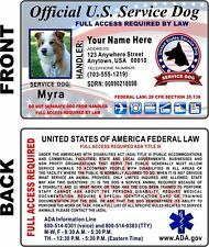 Customized Service Dog Id Card 2020 Emotional Support Animal High Quality