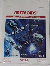 Asteroids Atari game Program instruction booklet 1981