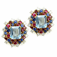 925 sterling Silver Natural Ruby Sapphire & Topaz Gemstone Men's Cufflinks