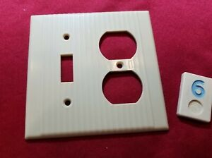 1 Ivory Vtg Ribbed Deco Double Gang Switch Outlet Combination Cover Plate- BB6