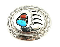 Native American Sterling Silver Navajo Bear Paw Coral With Turquoise Belt Buckle