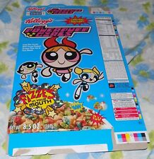 Vintage 2000 Kellogg's POWERPUFF GIRLS Cereal Blue Box Hologram Trim Flattened