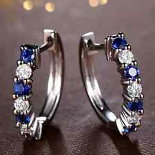 0.60ct Natural Royal Blue Sapphire Good Diamond Fine Earrings In 18K White Gold