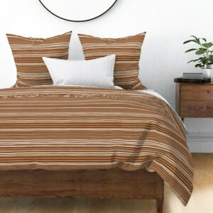 Stripes Rustic Lines Geometric Sienna Sateen Duvet Cover by Roostery