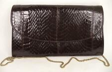 Vintage Black Snake Print De Piel Sintética Convertible Embrague bolso de hombro