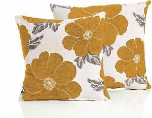 2X FLORAL MUSTARD GOLD OCHRE VELVET POPPY FLOWERS LINEN CUSHIONS FILLED £ 17.99