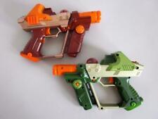(2) Hasbro Deluxe Laser Lazer Tag Guns Green & Orange  & Quick Guide