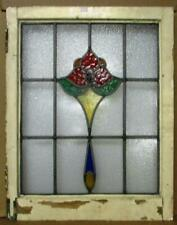 """MIDSIZE OLD ENGLISH LEADED STAINED GLASS WINDOW Lovely Flower Design 22"""" x 28"""""""