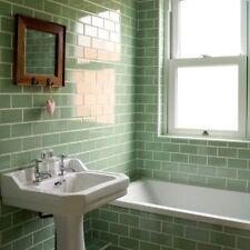 TILE SAMPLES London Bevelled Summer Green Gloss Metro Bathroom Tiles 10 x 20cm