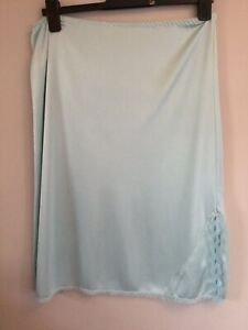 Vintage Debenhams Liquid Satin Slip Laced Slit Powder Blue Uk10-12 vgc nylon
