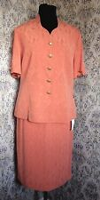Two piece outfit suit HABELLA Skirt & jacket Size 44 & 16 Tangerine / orange NWT
