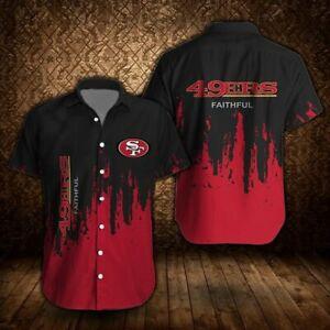 San Francisco 49ers Mens Hawaiian Shirt Casual Button Down Shirts Short Sleeve