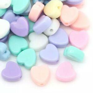 100pcs pastel heart shaped beads acrylic 8mm