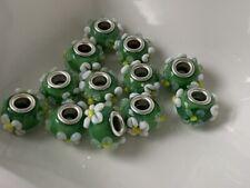 European Beads grün gemustert Anhänger Glas Lampwork 10x15 mm  12 Stück B55