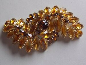 Spectacular Huge Claw Set Faux Topaz Diamante Brooch