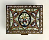Beautiful Large Antique 1800s Italian Micro Mosaic Bronze Box