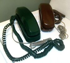 LOT of Two Vintage Bell Slimline Telephones Dark Green #475 and Brown