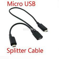 1X Micro USB 2.0 Mini 1 Female to 2 Male Y Splitter Adapter Data Cable Converter