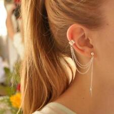 Silver Colour Stylish  Punk Rock Leaf Chain Tassel Dangle Ear Cuff Wrap Earring